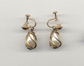 Laurel Burch 1980s G.F. Faux Pearl Drop Earrings