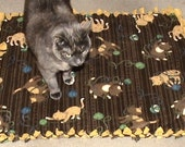 50% off all items by entering coupon code OUT50  Fleece Cat Pet Bed Medium size with quilt batting for padding
