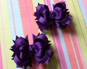 Small Purple Boutique Layered Hair Bows for Pigtails