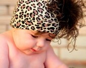 Leopard Boutique Beanie Hat with Brown Ostrich Puff for Baby, Toddler, and Girls