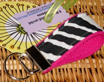 Keychain Pink Zebra Mini Key Fob Key Chain