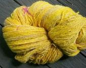 Handspun alpaca yarn  Gold Yarn of Awesome OOAK