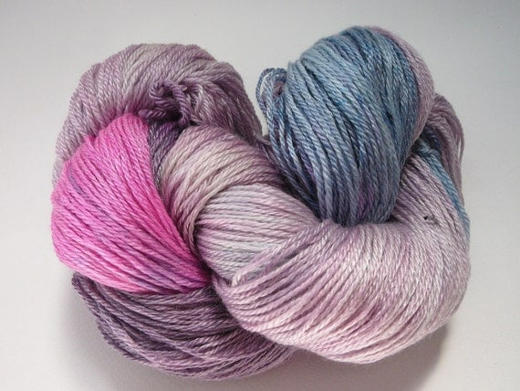 Hand painted fingering weight yarn superwash merino/tencel Twilight Sparkle 365 yards