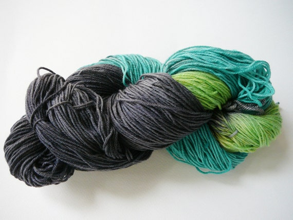 Hand painted superwash merino/nylon sock yarn  fingering weight  Queen Chrysalis 100g
