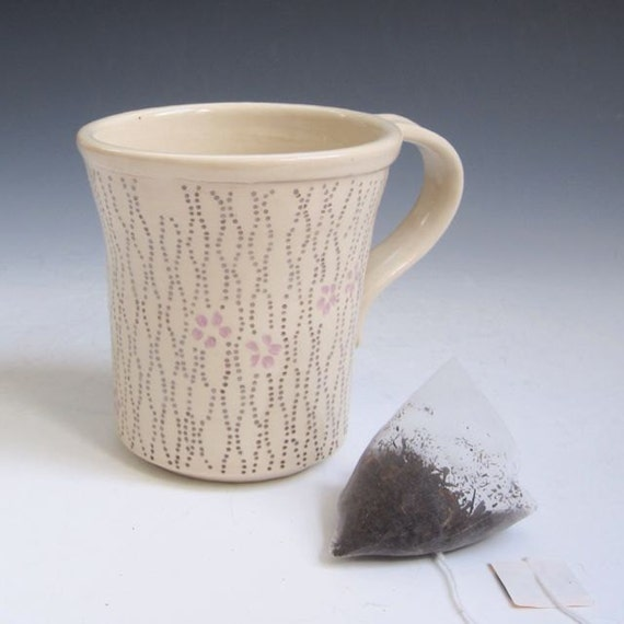 Handmade Pottery Coffee Mug in Cream with Gray Dots and Lavender Flowers