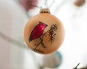Red Cardinal- Holiday Ornament, up-cycled