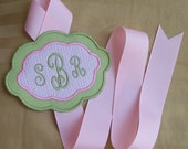 Monogrammed Hair Bow Holder - Perfect Girl's 1st Birthday Gift - Green and Pink Seersucker