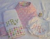 The 5-piece Dollar Monogrammed Baby Gift Set - Boy or Girl Fabrics Available