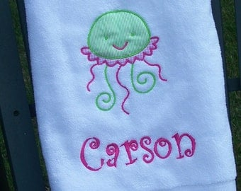 Monogrammed Kids Bath Towel with Jellyfish Applique -  perfect for the beach, bath or pool