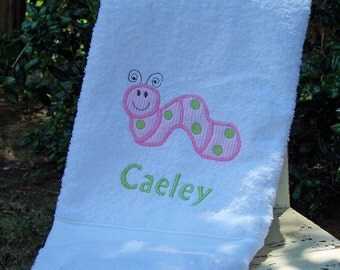 Monogrammed Kid's Bath Towel with Caterpillar Applique -  perfect for the beach, bath or pool