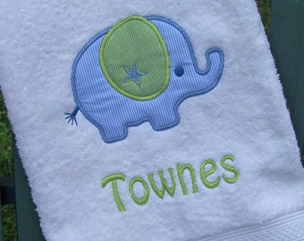 Monogrammed Kids Bath Towel with Elephant Applique -  perfect for the beach, bath or pool