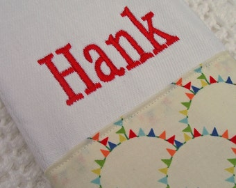 Monogrammed Baby Gift: Monogrammed Burp Cloth - Boy and Girl Fabrics available