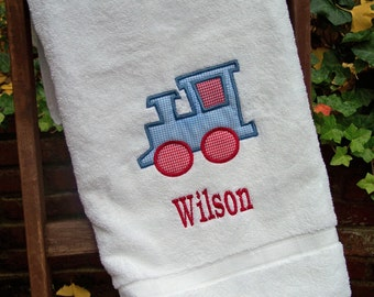 Monogrammed Kids Bath Towel with Train Applique -  perfect for the beach, bath or pool