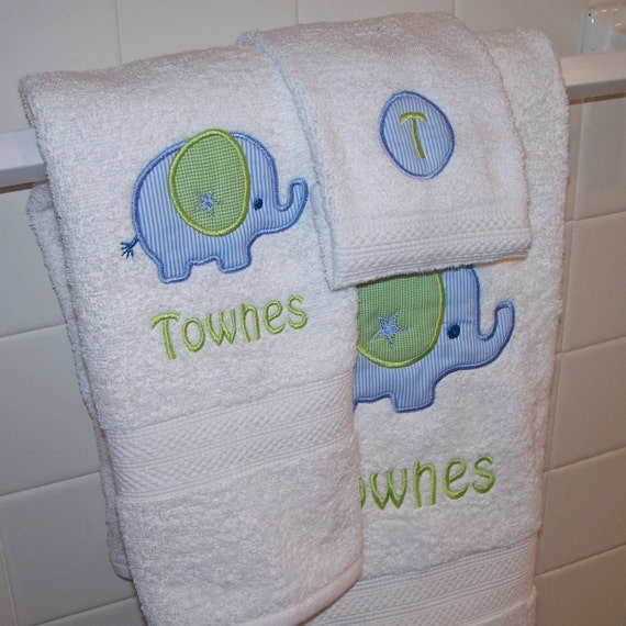 Monogrammed Kid's Bath Towel Set - Bath Towel, Hand Towel and Wash Cloth - you choose the applique