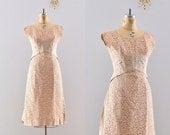 vintage 1960s dress / nude lace dress / 50s party dress
