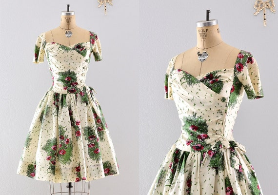 1950s 50s silk dress / 50s garden dress / vintage Gigi Young dress