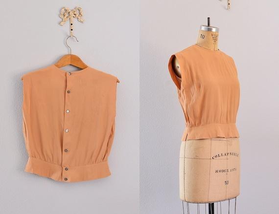 vintage blouse / apricot / vintage cropped blouse