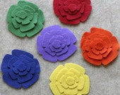 Wool Prism - Roses - 48 Die Cut Wool Felt Flowers
