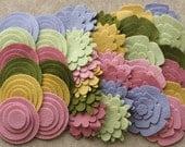 Wool Garden - Super Pack - 132 Die Cut Wool Felt Flowers and Circles