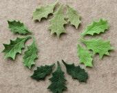 O Tannenbaum - Small Holly Leaves - 36 Die Cut Felt Shapes