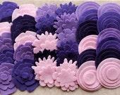 Purple Haze - Super Pack - 132 Die Cut Felt Flowers and Circles