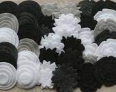 Black Tie - Super Pack - 132 Die Cut Felt Flowers and Circles