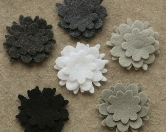 Stormy Weather - Flowers - 36 Die Cut Felt Flowers