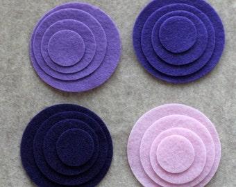 Purple Haze - Circles - 48 Die Cut Felt Circles