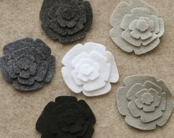 Stormy Weather - Roses - 48 Die Cut Felt Flowers
