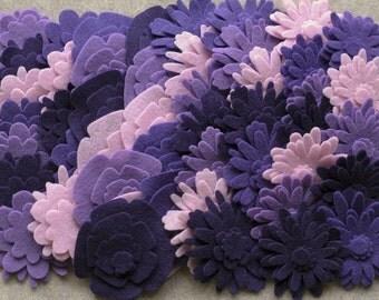 Purple Haze - Flower Power Pack - 180 Die Cut Felt Flowers
