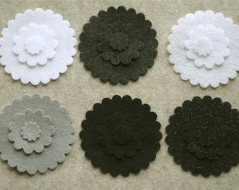 Black Tie - Scallop Circles - 36 Die Cut Felt Shapes