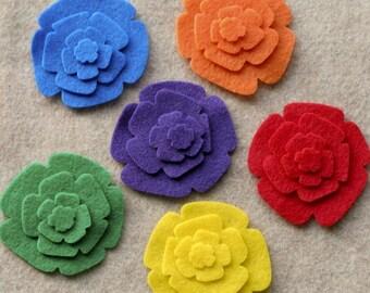 Over the Rainbow - Roses - 48 Die Cut Felt Flowers