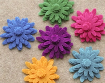 Wonderland - Mums - 48 Die Cut Felt Flowers