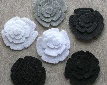 Black Tie - Roses - 48 Die Cut Felt Flowers