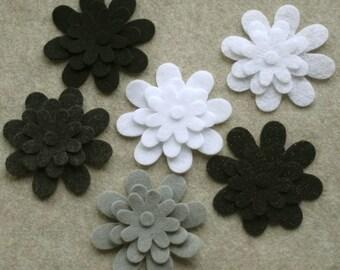 Black Tie - Daisies - 36 Die Cut Felt Flowers