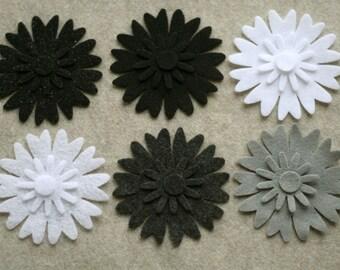Black Tie - Peonies - 24 Die Cut Felt Flowers