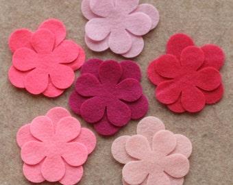 Perfectly Pink - Poppies - 24 Die Cut Felt Flowers