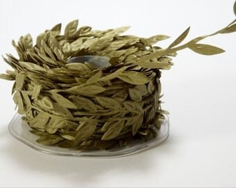 Leaf Satin Ribbon - Olive Green - 1 inch  - You Choose Yards