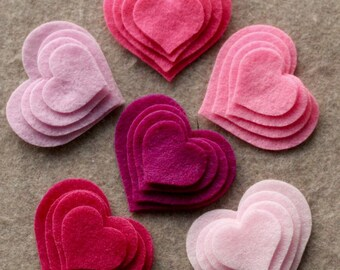 Perfectly Pink - Small Hearts - 48 Die Cut Felt Shapes