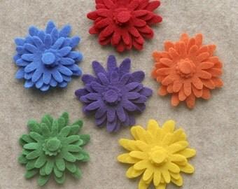 Over the Rainbow - Mums - 48 Die Cut Felt Flowers