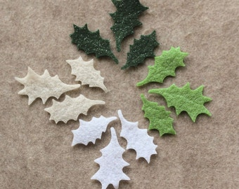 Celtic Winter - Small Holly Leaves - 36 Die Cut Felt Shapes (ALL GLITTER)