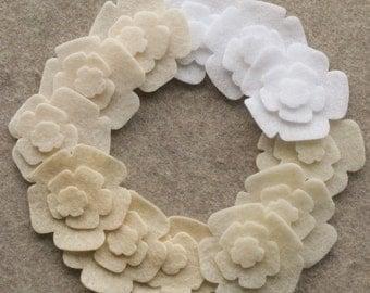 Antique Lace - Mini Roses - 36 Die Cut Felt Flowers