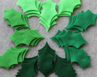 Green Day - Large Holly Leaves Value Pack - 108 Die Cut Felt Leaves
