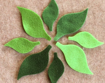 Green Day - Sunflower Leaves - 48 Die Cut Felt Shapes