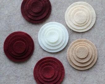Khaki Santa - Circles - 48 Die Cut Felt Circles