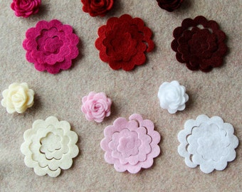 Berries and Cream - 3D Rolled Roses - 24 Die Cut Felt Flowers - Unassembled Rosettes