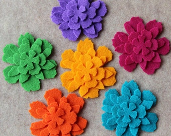 Autumn Bouquet - Zinnias - 48 Die Cut Felt Flowers