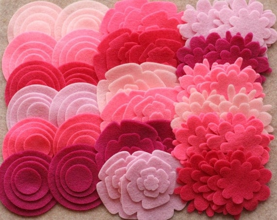 Perfectly Pink - Super Pack - 132 Die Cut Felt Flowers and Circles