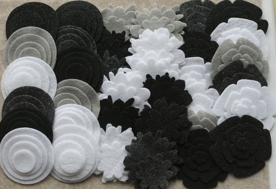 Black Tie - Super Pack - 132 Die Cut Felt Flowers and Circles