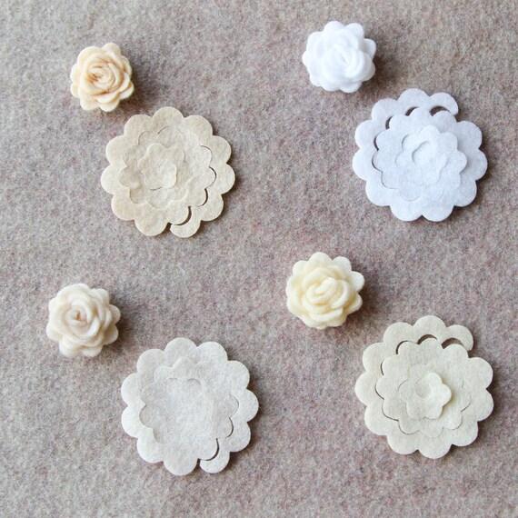 Antique Lace - 3D Rolled Roses - 24 Die Cut Felt Flowers - Unassembled Rosettes